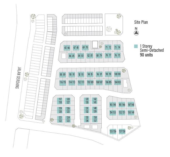 Taman Bestari 1 Storey Semi – D site plan