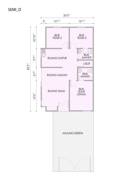 Taman Bestari 1 Storey Semi floor plan