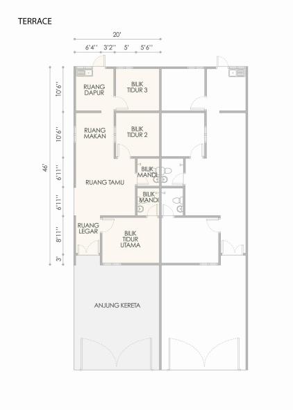 Taman Bestari 1 Storey Terrace floor plan