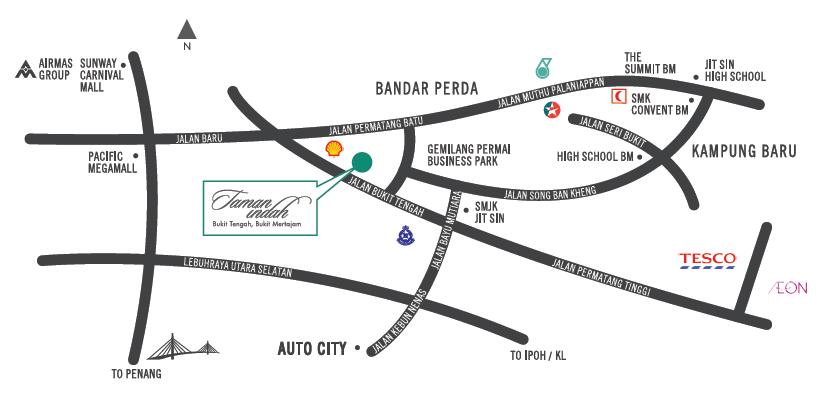 Taman Indah Bukit Tengah, Bukit Mertajam location map