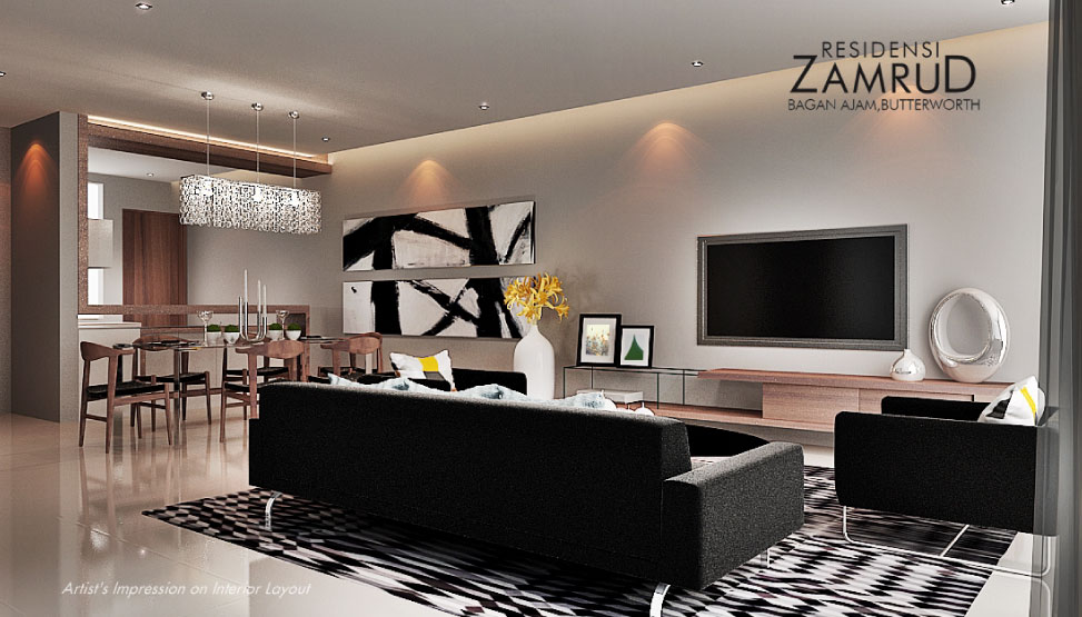 Residensi Zamrud living room shoowroom